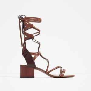 Zara Tan lace up sandals